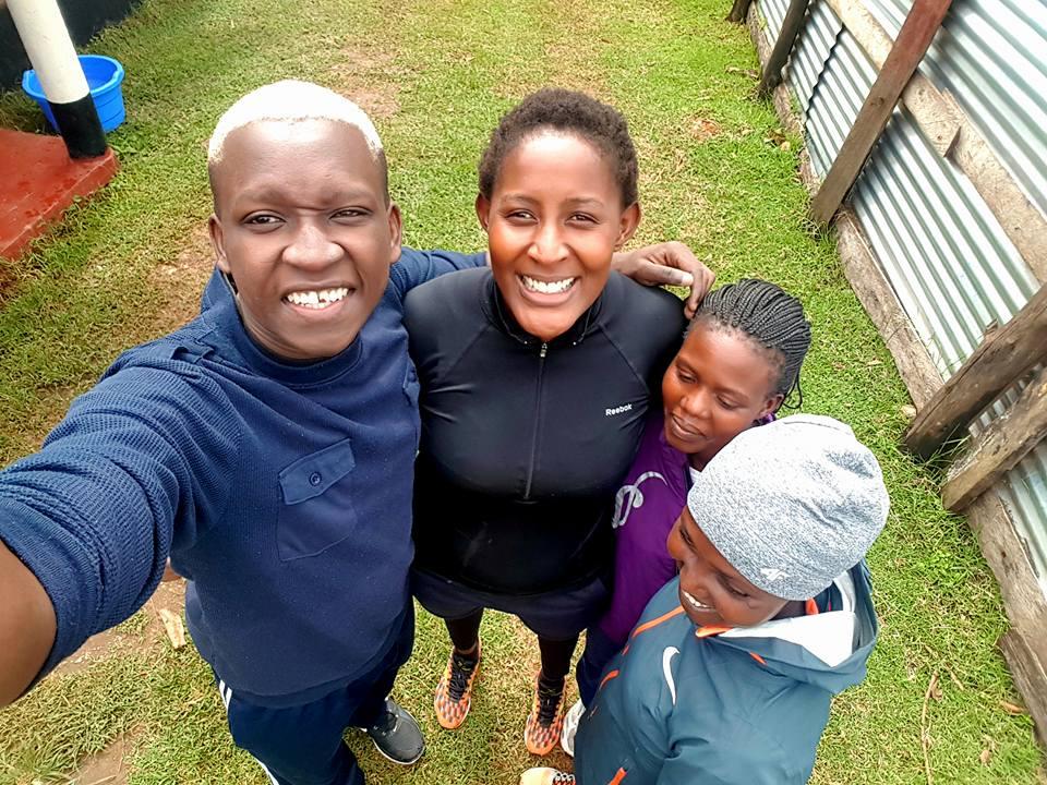 Before the run with Rebecca Jepchirchir Korir