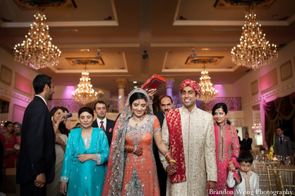 Shimmering Pakistani Wedding In Peach And Pale Blue By