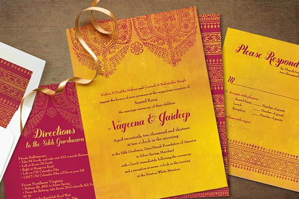 Indian Wedding Invitation Templates Detailed Large Paisley Motif