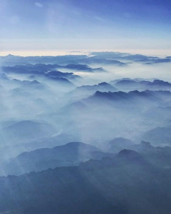 Hazy sunrise over the Alps