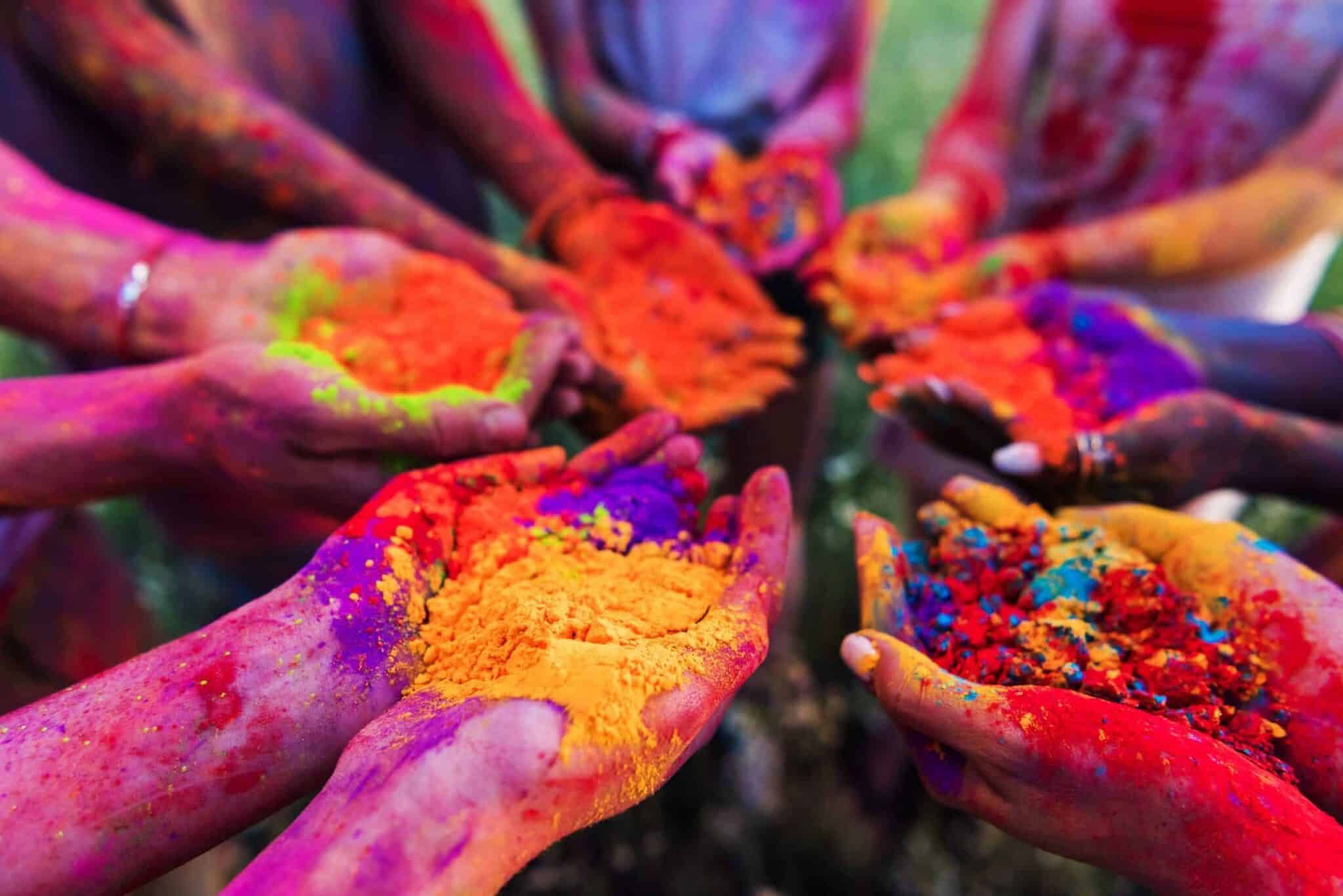 hands with colored paint