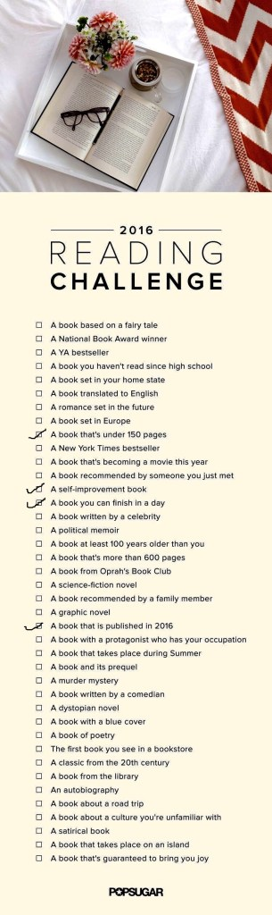 2016 Reading Challenge Popsugar