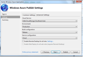 Options for Create Cloud Publish
