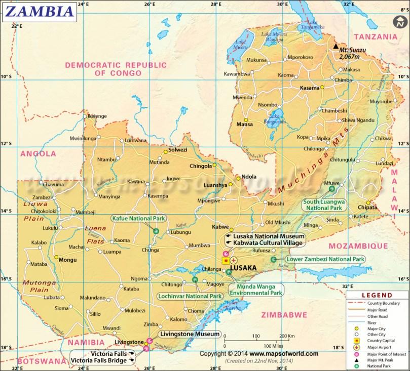 Zambia Map Africa tourism