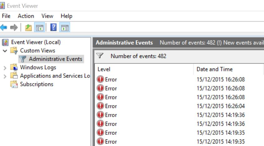 windows event viewer