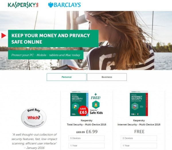 barclays kaspersky internet security options