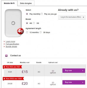 Vodafone 4G wifi dongle costs
