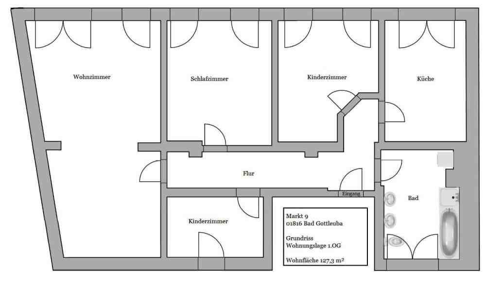 Familienfreundliche Etagenwohnung - Grundriss