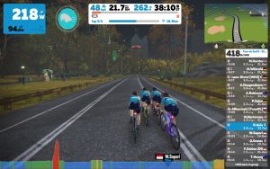 Screen grab from Stage 9 of the Tour de Zwift