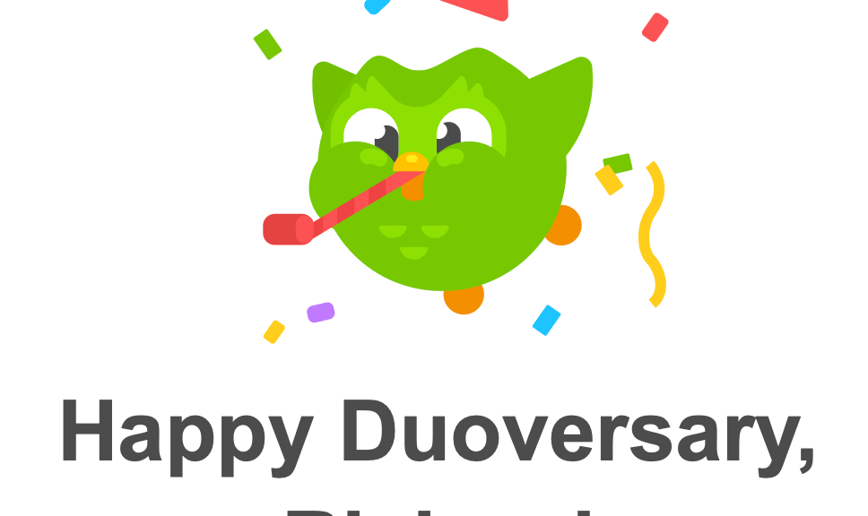 It's your duoversary - image of the duo owl celebrating