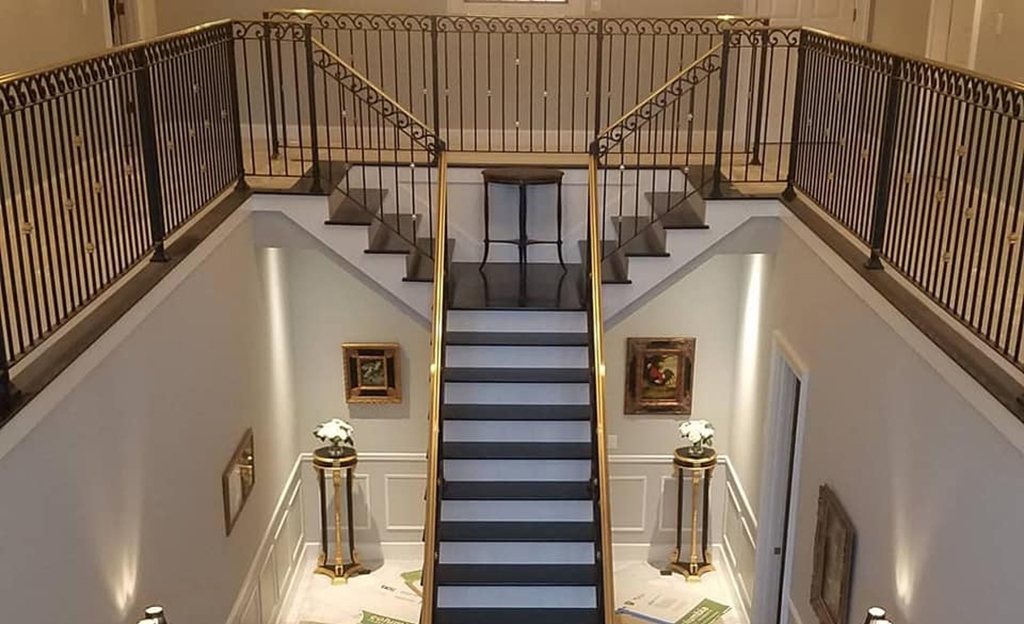 Iron Handrails Photos At Maine Architectural Ironworks | Interior Handrails For Steps | Aircraft Cable | Wrought Iron | Western | Closed Staircase | Stair Bannister