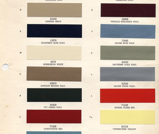 1966 Mustang Paint Colors Codes