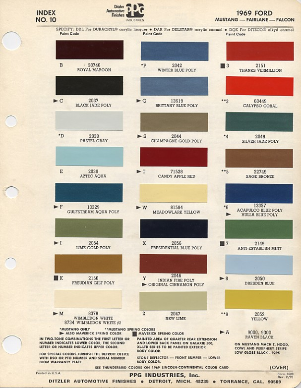 1967 ford interior color codes for Paint color codes for houses