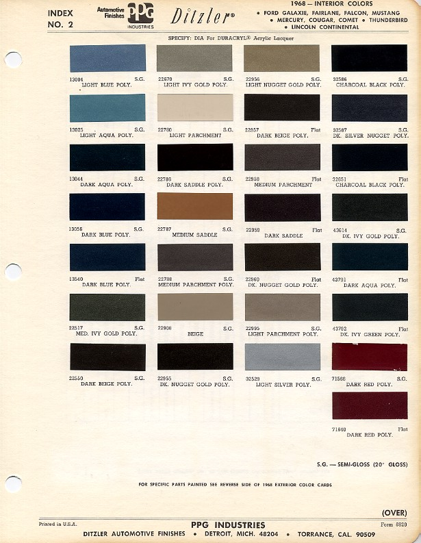 1968 Mustang Interior Color Charts