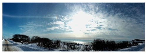 Parhelic Circle extending from a sun dog on Feb 16, 2015 on Peaks Island, ME