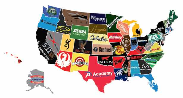 Favorite Outdoor Brands by State