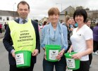 Castleisland hospice branch chairman, Jack Shanahan with members, Catherine Horan and Liz Galwey at the start of the annual walk on Good Friday morning. Photograph: John Reidy 18-4-2014