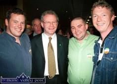 Northern Ireland education Minister, Martin McGuinness pictured with Sinn Féin supporters, from left: John Breen, Castleisland; Denis O'Regan, Ballymacelligott and Michael Broderick, Brosna at the 2002 General Election count at the Brandon Hotel, Tralee. ©Photograph: John Reidy 18/05/2002