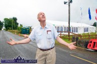 For Heaven's Sake: Dan Paddy Andy Festival founder, Joe Harrington appealing to the great powers for fine weather as the preparations for the 2012 festival at Lyreacrompane take shape. ©Photograph: John Reidy 3-8-2012
