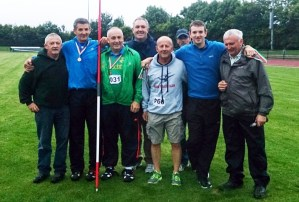 Record maker, Patsy O'Connor (second from left) pictured on the occasion of winning his 40th annual Kerry Track & Field Championship at Ar. Riocht AC. The line-up includes from left: James O' Leary, An Riocht AC; Patsy O' Connor, Tralee Harriers AC; Jim Galvin, An Riocht AC: Brendan Cullen, co board treasurer; David Courtney, Ennis Track AC; Michael Godley, competition secretary Kerry County Board; Alan O Connor, Tralee Harriers AC and Martin Fitzgerald, chairman Kerry County Board.
