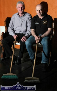 The Cross-Border Brush-Dancing team of Con O'Connor from Ballydesmond (left) and proprietor, Peter Browne preparing their party-piece for the Rambling House at Browne's Bar, Castleisland on Friday, July 25th. ©Photograph: John Reidy