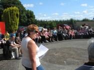 Kay O'Leary tells the story of Dan at the start of the Dan Paddy Andy Festival Walk 2014