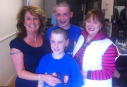 Tadhg & Ned, and with Ned's mom, Ann Maria O'Connor and Tadhg's grand- aunt, Eibhlin Moriarty-Henggeler just after stepping oiut of John Brennan's chair.