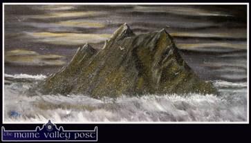 My interpretation of Skellig Michael on a stormy evening. It's acrylic on board from 2009. ©John Reidy