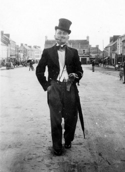 Terence Brosnan as Lord Haw Haw in a Fancy Dress Parade on Castleisland's Main Street. Photograph: Danny Sheehy 1-9-1940
