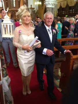 Mother of the bride, Margaret Ryan and father of the groom, Jack Rahilly pictured after Janette and Brendan's wedding at the Church of Saints Stephen and John in Castleisland on Friday.