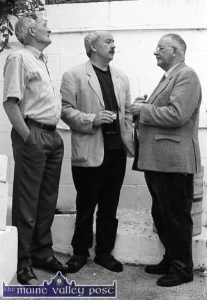 Retired Killarney publican and Sliabh Luachra tradition custodian, Jimmy O'Brien (right) pictured with Paddy Berry, Wexford (left) and Tim Dennehy, Miltown Malbay singing The Boys of Barr Na Sráide at the back of Marrinan's Bar in Miltown Malbay during the Willie Clancy Summer School of 1998. ©Photograph: John Reidy 10-7-1998