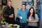 Brendan Walsh (left) pictured with: Thomas and Catheriona Callaghan at the Second Chance Charity Shop Coffee Morning on Friday. ©Photograph: John Reidy
