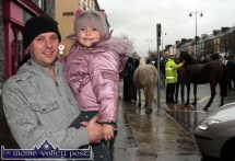 Tommy Hayes pictured with his daughter, Clionadh in her element among the horses at Castleisland's annual November 1st Horse Fair on Saturday. ©Photograph: John Reidy