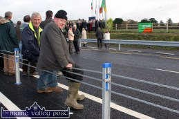 Local men, John Joe Conway (left) and James Lynch pictured sitting on the embattled 'Central Dividers' which had to be repaired last week. John Joe and James were pictured at the opening of the N21 Castleisland Bypass in October 2010. ©Photograph: John Reidy 22-10-2010