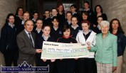 Members of the Drama Society and management and staff of St. Joseph's Girls' Secondary, Castleisland presented a cheque for €820 to Phil O'Mahony of the Kerry Parents and Friends. The money was raised from a performance of A Christmas Carol by the students . Included are: Seamus Falvey, Principal; Thérèse O'Connell, Francine Moynihan, Elaine O'Loughlin, Phil O'Mahony, Kerry Parents and Friends; Joan McElligott (staff), Maire Bradley, Fiona Durkin, Briony Hemmings, Alison Doody, Sadhbh O'Connor, Marie Cahill (staff), Hannah Fortune, Allison Walsh, Dervala Murphy, Mairead McKeown, Julie Curtin, Sally Enright, Deirdre Skeehan, Catherine Kerin, Jessica Murphy, Annette Leen (staff). ©Photograph: John Reidy 14-5-2009