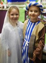 Maja and Jakub all ready to perform as Mary and Joseph.
