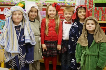Junior Infants: Ben, Kacper, Molly, James, Tadhg and Tiernan all set for their first nativity play.