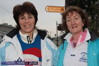 Former Kerry All-Ireland winning captain, Mary Lane-Scanlon (left) and Sheila Curtin providing parental support for their girls in Corofin for the All-Ireland Intermediate final. ©Photograph: John Reidy 29-11-2014