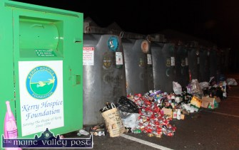 God Bless our Throats: The post Christmas bottle and can count at the Lidl yard recycling facility on Sunday night. ©Photograph: John Reidy