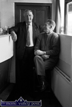 Mikey Duggan (left) pictured with the late Johnny O'Leary in Tom Fleming's Bar in Scartaglin in 1991. ©Photograph: John Reidy 25-7-1991