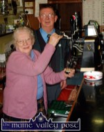 The late John Shanahan - and uncle of Gussie Shanahan - pictured in the bar in Castleisland with his mother-in-law, Moira Drumm-McCarthy in 2004. ©Photograph: John Reidy 25/3/2004.
