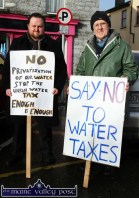 March co-organisers, Kevin Murphy, Killarney (left) and Frank Kevins, Currans pictured before the Right2Water protest march in Castleisland this afternoon. ©Photograph: John Reidy