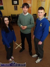 Actor, Alan Devine pictured with Natasha McAuliffe, Castleisland and John McMahon, Currow during their Drama Club Transition Year class at Castleisland Community College on Thursday. ©Photograph: John Reidy