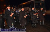 Cullen Pipe Band leader, Con Houlihan (left) setting the Brosna team home-coming parade in motion from the Sportsfield on Sunday night. ©Photograph: John Reidy