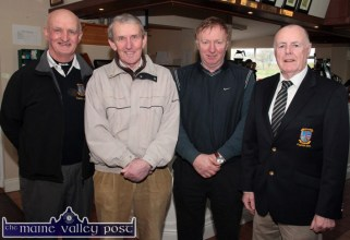 Club members from left: Dan Nelligan, Patsy Sweeney, Con O'Connor and incoming captain, Domhnall de Barra before the drive in to launch Castleisland Members' Golf Club on Sunday morning. ©Photograph: John Reidy