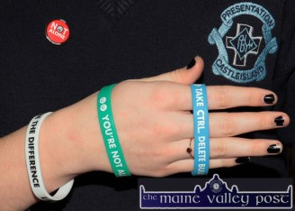 Help on Hand: A sample of the wrist-bands being made available in conjunction with the Presentation Internet Safety initiative now running at the Castleisland girls' secondary school. ©Photograph: John Reidy