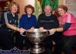 Castleisland Day Care Centre staff member, Rita McCarthy (left) pictured with Eileen and Tim O'Callaghan, Firies and Marcella Finn, nurse/manager during the visit of the Sam Maguire Cup on Wednesday. ©Photograph: John Reidy
