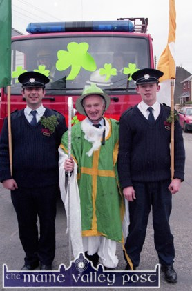 Castleisland Fire Brigade members, from left: Billy O'Connor, Jack O'Connor and Tony Nolan playing their part in the 1997 St. Patrick's Day Parade in Castleisland. ©Photograph: John Reidy 17-3-1997