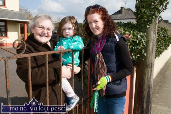 Mary Horan pictured with her grand-daughter, Saoirse and Saoirse's mom, Coleen McMahon watching Tuesday's St. Patrick's Day Parade at Tralee Road. ©Photograph: John Reidy