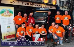 At the launch of the 2015 Longest Day Vent at Tom McCarthy's Bar were front from left: Cian and Gina Fagan, Eileen Greaney, Fiona Clifford, Norma Nolan-Moran and Pat O'Connor. Back from left: Ted Clifford, Denny Greaney, Michael Ward and Alan Wallace, Kerry Mountain Rescue; Gerry Fagan and Tom McCarthy. ©Photograph: John Reidy